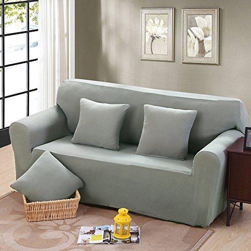 Argstar Loveseat Slipovers for Living Room Anti-wrinkle Spandex Protector Silver Grey (2x Free Pillow Cases) - Loveseat Living