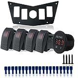 Iztor Aluminum Black Dash Panel Polaris w/4 red rocker Switches and voltmeter socket For Polaris RZR Xp 900, 800, S, 570