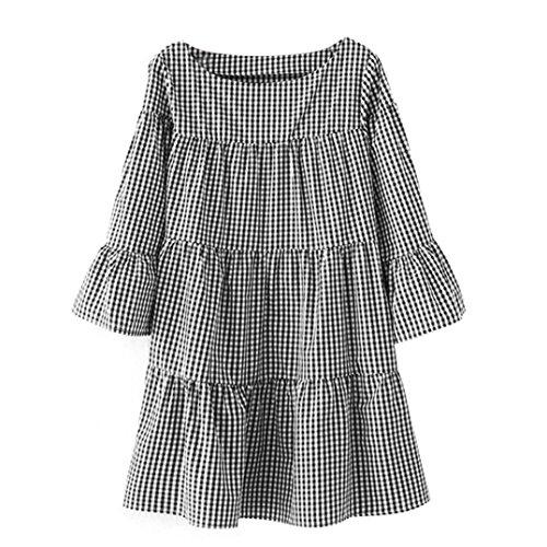 Kleid Transer® Damen Plus Size Klassik 3/4 Arm Kleider Hausfrau ...