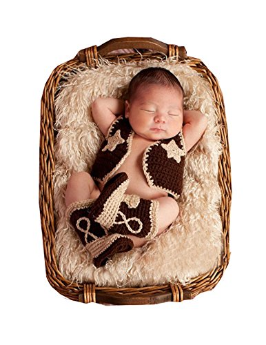 CX-Queen Baby Photo Prop Crochet Knitted Costume Cowboy Vest Shoes