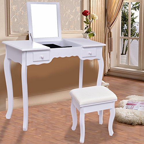 Giantex Vanity Set Dressing Table with Flip Top Mirror Cushioned Bench Bedroom Furniture Table Desk Set (White)