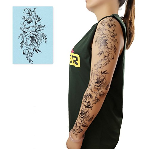 DaLin 4 Sheets Black Flower Temporary Tattoos for Women (Peony Flower) (Half Sleeve Tattoos For Men Black And White)