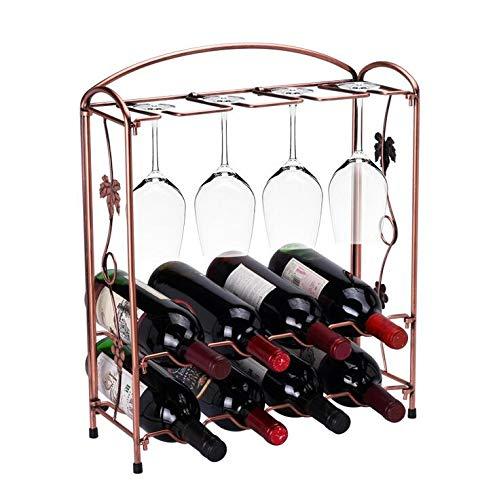 Anleo Metal Wine Glass Folding Rack Stand for Countertop Cabinet Cellar, 8 Wine Glass + 8 Bottles Capacity Wine Storage Display Rack (Vintage Style Deep Bronze) (Rack Glass Insert)