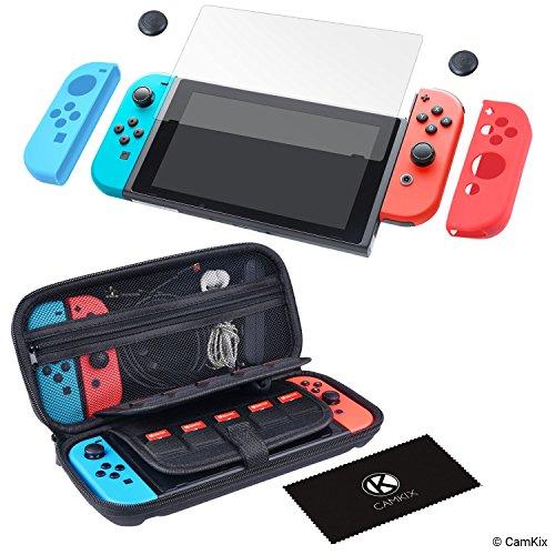 (CamKix Grip and Protection Kit Compatible with Nintendo Switch: Nylon Case with 20 Game Card Inserts, Tempered Glass Screen Protector, Joy Con Covers, Thumb Grip Cover, Cleaning Cloth)