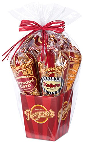 (Popcornopolis Gourmet Popcorn 5 cone Gift Basket - Premium)