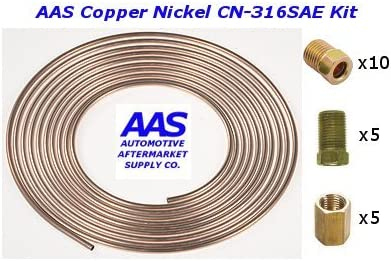 PACK OF 3 Each pc 3//16 Copper Nickel Brake Lines Is 60 long with inverted double flares and standard 3//16 tube nuts