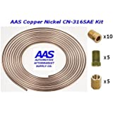 "AAS Copper Nickel CN-316 3/16"" x 25' Brake Line with 20 Inverted Flare Fittings"