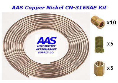 AAS Copper Nickel CN-316 3//16 x 25 Brake Line with 20 Fittings