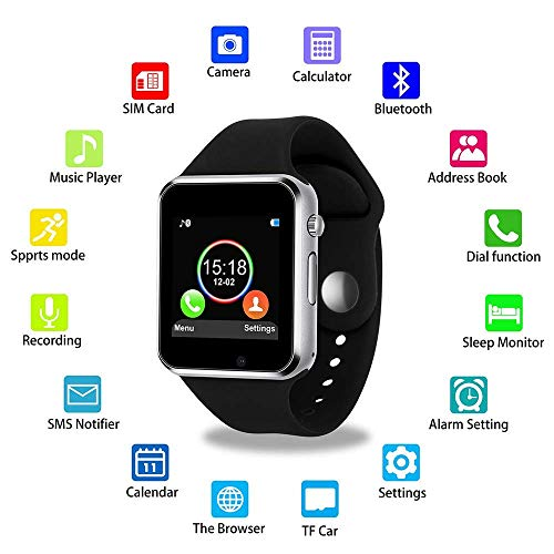 Bluetooth Smart Watch Anti-Lost Smartwatch Touch Screen with SIM Card Slot Camera Music Player Support Android Samsung iOS iPhone, Sweatproof Sports Fitness Tracker for Women Men Kids (Black, X1B)
