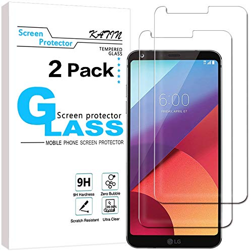 KATIN LG G6 Screen Protector - [2-Pack] LG G6 / LG G6 Plus Tempered Glass Screen Protector Bubble free, 9H Hardness with Lifetime Replacement Warranty