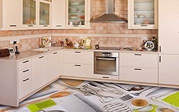 Amazon.de: Ruvitex 3D Küche Boden Vinyl Dekor PVC Bodenbelag ...