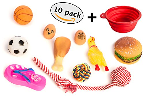 Small Dog Toys Pack Of 10 + Bonus Travel Bowl | Puppy Chew Teething Toy Set | Squeaky Chewing Toys Package for Medium, Large Dogs and Pets | Durable, Tough, Non-Toxic, Rope, Rubber Toys By GloBal Pet (Puppy Packs Pet)