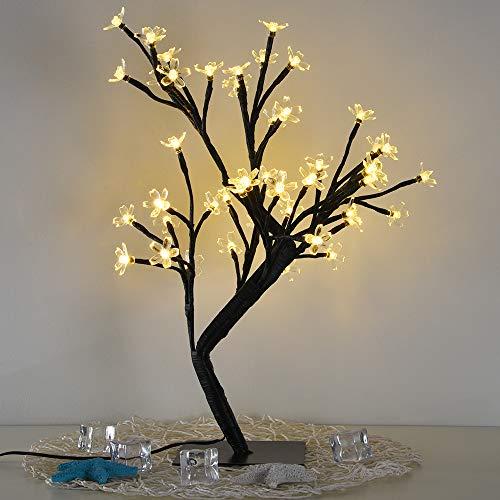 Blueseao 0.45M 48LED Cherry Blossom Desk Top Bonsai Tree Light Décor for Home/Festival/Party/Christmas/Night Light (Yellow)