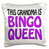 3dRose pc_149773_1 This Grandma is Bingo Queen, Purple, Pillow Case, 16'' x 16''