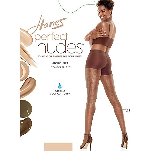 Hanes Silk Reflections Womens Perfect Nudes Micro Net Control Top Pantyhose  Transparent  Large