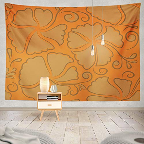 Suesoso Watercolor Wheel Floral Tapestry, Hang Wall Art,Orange and Brown Hibiscus Aloha Hawaiian Shirt Abstract Art Hanging Wall Decor,Tapestry Wall Hanging for Home Decor,Birthday Gifts for Women