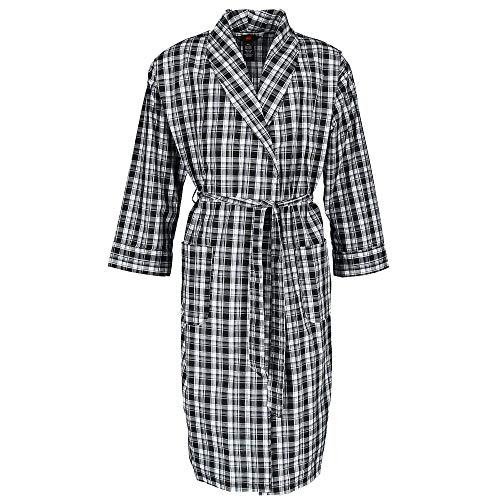 Hanes Men's Lightweight Woven Broadcloth Robe, XL/2XL, Black