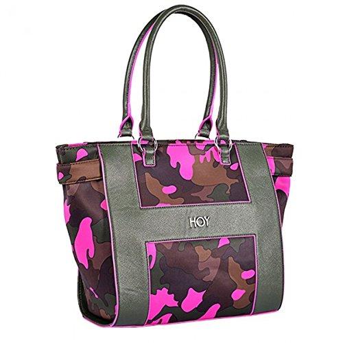 Sac porté épaule Shopping Hawaii Camo Fun par Hoy cm 31 X 30 X 13,5 en tissu rembourré avec un motif mimétique, des détails et un effet contraste du profil en cuir