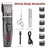IWEEL Dog Clippers, Professional Rechargeable Cordless Cat Shaver and Low Noise Water Proof Electric Dog Trimmer Pet Grooming Kit Animal Hair Clippers Tool with Scissors Combs for Dogs Cats Washable