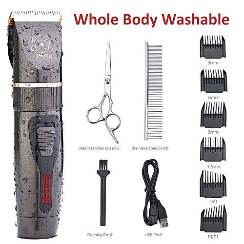 (IWEEL Dog Clippers, Professional Rechargeable Cordless Cat Shaver and Low Noise Water Proof Electric Dog Trimmer Pet Grooming Kit Animal Hair Clippers Tool with Scissors Combs for Dogs Cats Washable )