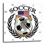 3dRose USA Soccer Ball with Fan Crest Wall Clock, 10 x 10''