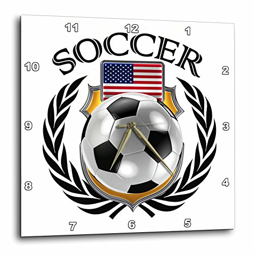 3dRose USA Soccer Ball with Fan Crest Wall Clock, 10 x 10'' by 3dRose
