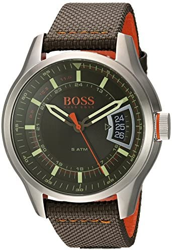 HUGO BOSS Orange Men s Quartz Stainless Steel and Leather Casual Watch, Color Green Model 1550016
