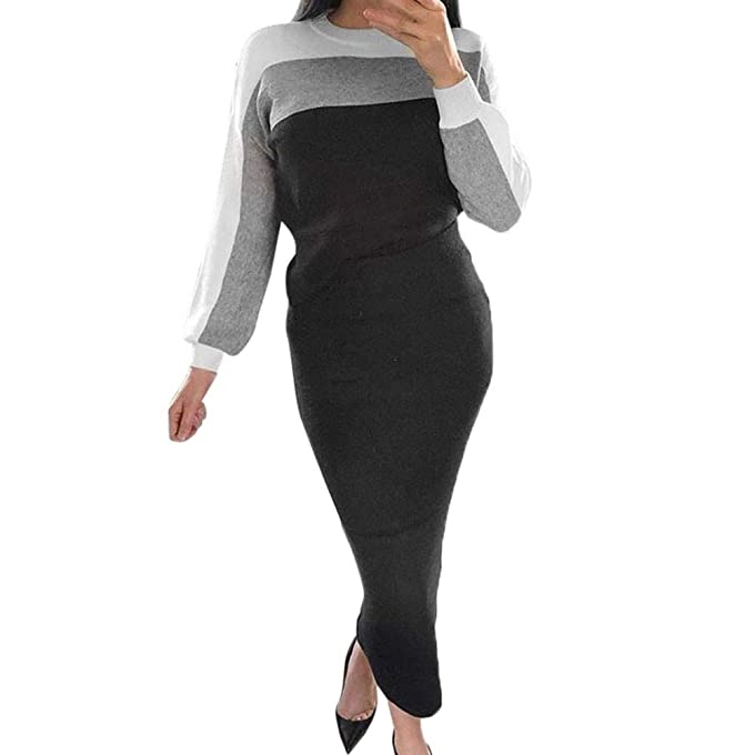 Traje Mujer Elegante Pantalon,2 UNIDS Conjuntos para Mujer Patchwork SuéTer Manga Larga Jumper Tops Casual Bodycon Falda
