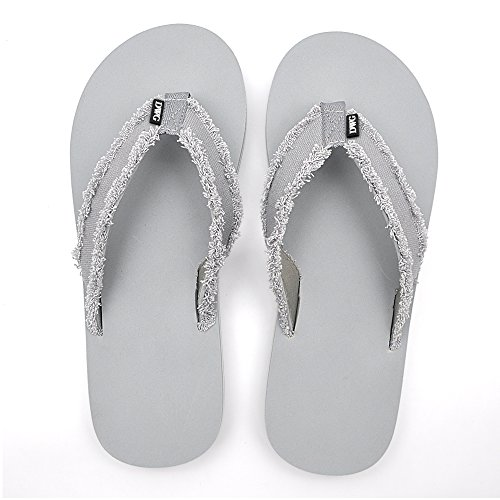 Men's Flip Flops Beach Sandals Lightweight EVA Sole Comfort Thongs(12,Grey) by DWG (Image #5)