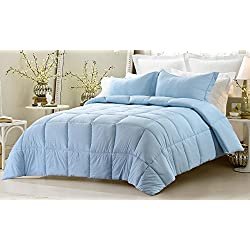 Web Linens Inc 3pc Reversible Solid/Emboss Striped Comforter Set- Oversized and Overfilled - 2 Bedding Looks in 1 - Queen-Light Blue