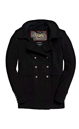 06c15fd8 Superdry New RRP£114.99 Large Size Womens Stunning Military Pea Winter Coat  Black BNWT: Amazon.co.uk: Clothing