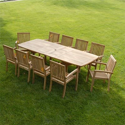 New 11Pc Grade-A Teak Outdoor Dining Set-95″X40″ Rectangle Double Extension Table & 10 Patara Arm Chairs & Cushions Review