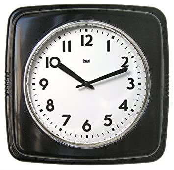 bai square retro wall clock black