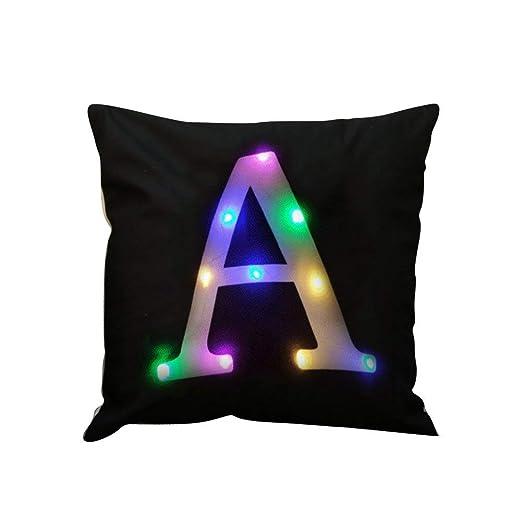 Zuodu, funda para cojín, almohada, con letra, de terciopelo, con creativa luz LED, colorida, intermitente, para uso en fiestas, Festival, bar, 45 cm x ...