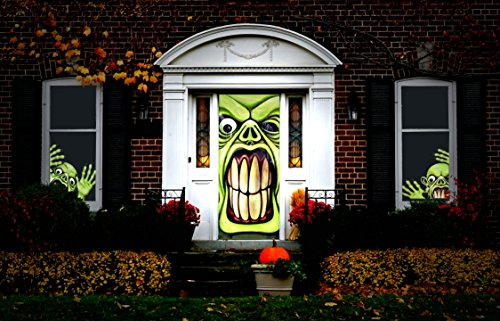Halloween Haunted House Decorations - Green Goblin Door & Window Covers (3 Piece Set) - By Retail (Best Door Decorations For Halloween)