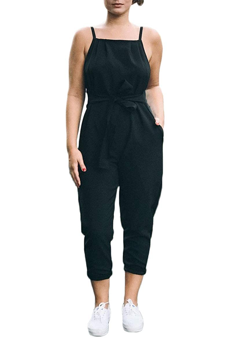 Summer Jumpsuit for Women Spaghetti Strap Romper Sleeveless Hollow Out Bodysuit with Pocket