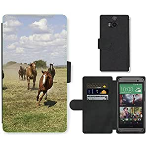 Super Stella Cell Phone Card Slot PU Leather Wallet Case // M00105195 Quarter Horses Ranch Agriculture // HTC One M8