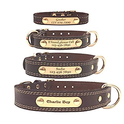 Shorven Soft Genuine Leather Custom Dog Collar with ID Tag Engraved Nameplate