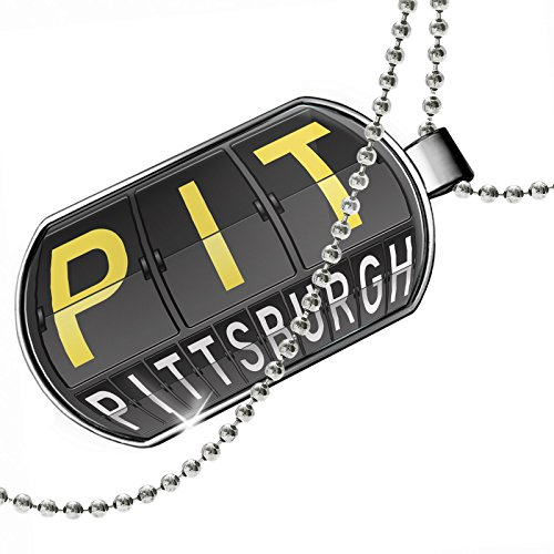 Dogtag PIT Airport Code for Pittsburgh Dog tags necklace - - Pittsburgh Shops Airport