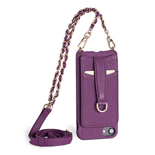 (Vaultskin Victoria Crossbody iPhone Leather Wallet Case, Fashionable Bumper for Cards and Cash - Holds up to 8 Cards (iPhone 6/7/8, Spanish Violet, Chain & Leather Strap))