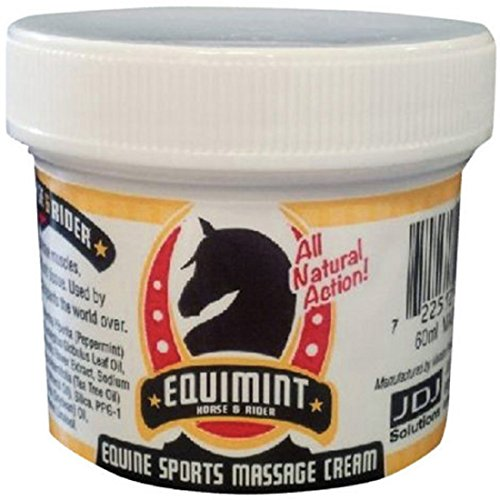 - EQUIMINT JDJ Solutions Horse and Rider Massage Mint Cream - with Peppermint, Tea Tree Oil and Added Essential Ingredients for Joint and Muscle Spasm Treatment (16.9 oz)