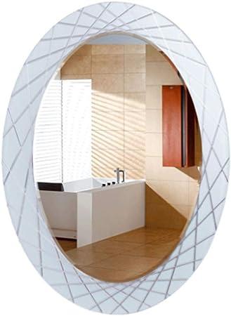 Liuhoulin Jardín Espejo de baño de Vidrio Espejo de Lavado Ovalado HD Colgante de Pared Baño Baño de casa Espejo HD Espejo de Plata Inicio (Color : White, Size : 60X80CM): Amazon.es: