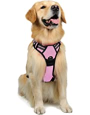 Rabbitgoo Dog Harness No Pull Dog Harness Adjustable Pet Harness Outdoor Pet Vest 3M Reflective Oxford Material Vest for Dogs Easy Control for Large Dogs (Large, Pink)