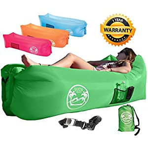 Banzai Unlimited Inflatable Air Lounger Sofa Couch Hammock with Bottle Opener 4 Pockets Headrest Securing Stake & Travel Bag. Perfect Blowup LayBag for Beach Camping Pool Float Indoors Outdoors