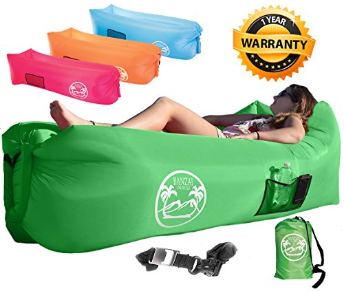 Banzai Unlimited Inflatable Air Lounger Sofa Couch Hammock with Bottle Opener 4 Pockets Headrest Securing Stake & Travel Bag. Perfect Blowup LayBag for Beach Camping Pool Float Indoors - Sunglasses Green Screen