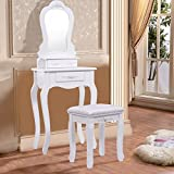 Giantex Vanity Wood Makeup Dressing Table Stool Set Bedroom with Mirror (Sector Mirror, 3 Drawers)