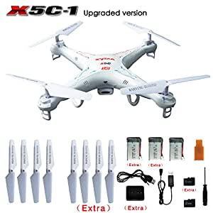 SYMA X5C-1 RC Quadcopter With Extra 4 Rotating Blade, 2 Li-Po Battery, 4G Micro SD Card, 4-in-1 Battery Charger