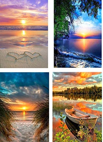 4 Pack 5D Diamond Painting Kits for Adults Full Drill Diamond Painting Rhinestone Embroidery Pictures Cross Stitch Arts Crafts for Living Room Home Wall Decor