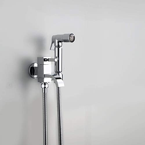 LED Handheld Bidet Faucet Brass Hot and Cold Portable Shower Sprayer Set Wall Mount Cloth Diaper Washer Single Handle Bathroom Toilet Sprayer Douche Kit with Faucet, for Personal Hygiene, Chrome