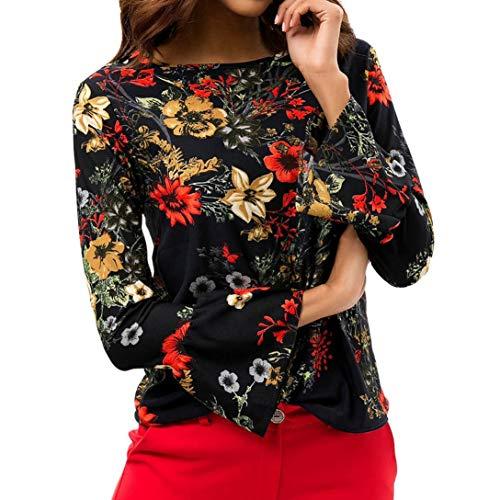 Femme T Floral Manches Longues Classique Orange Bringbring Imprim Top Shirt Chemisier Col en O Mousseline Chic rcrqR0BzA